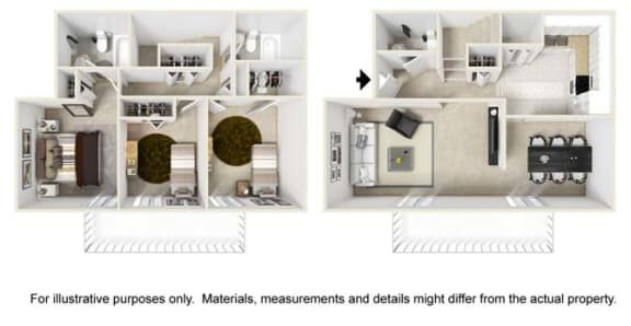 Normandy Floor Plan at Tates Creek Village Apartments in Lexington KY