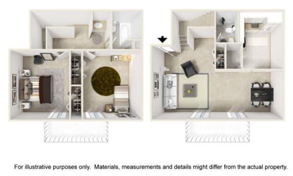 Overbrook Floor Plan at Tates Creek Village Apartments in Lexington KY