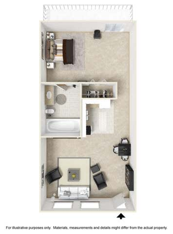 Studio Floor Plan at Tates Creek Village Apartments in Lexington KY