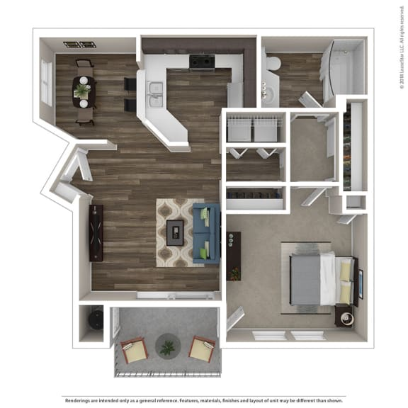 1 Bed, 1 Bath Floor Plan at Renaissance Apartment Homes, California