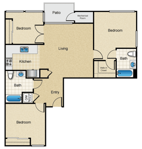Floor Plan  I-unfurnished-three-bedroom-apartment