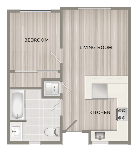 Floor Plan  Unfurnished One Bedroom A