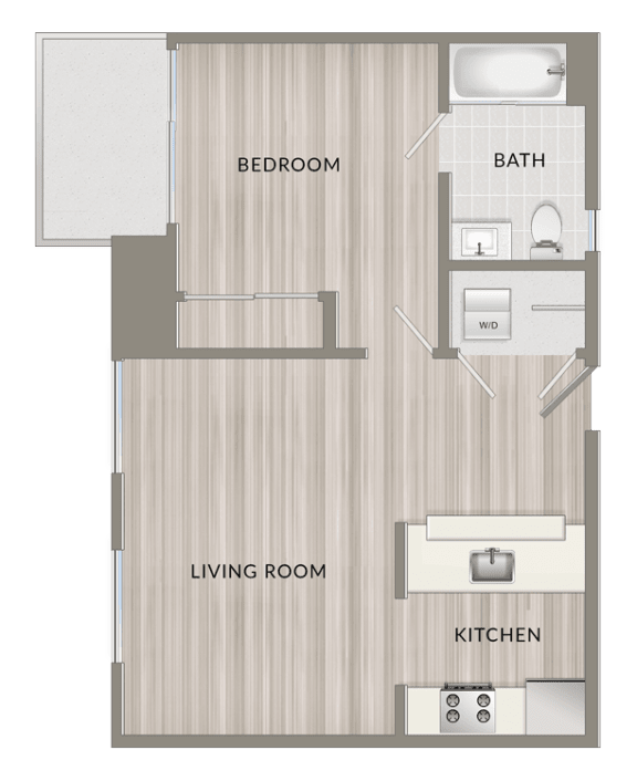 Floor Plan  Unfurnished One Bedroom D