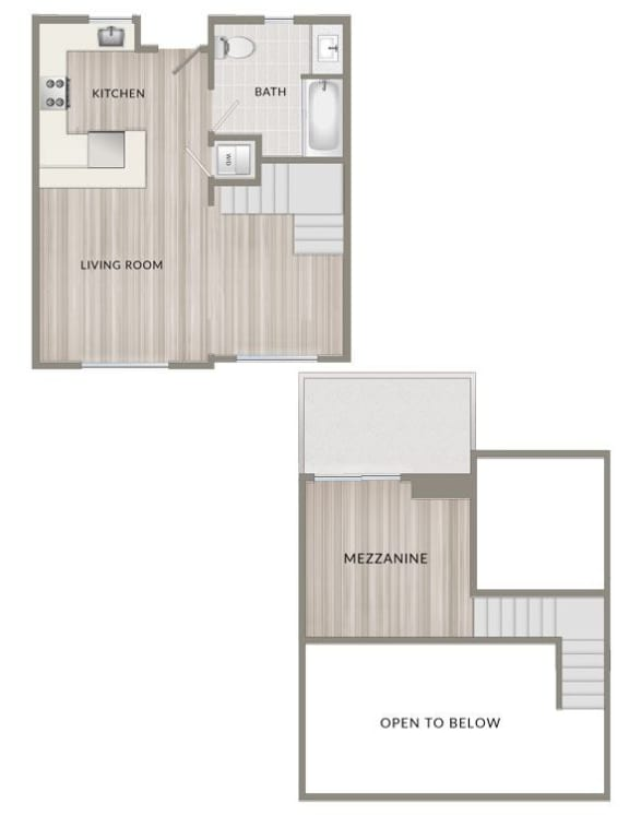 Floor Plan  Unfurnished One Bedroom Loft A1