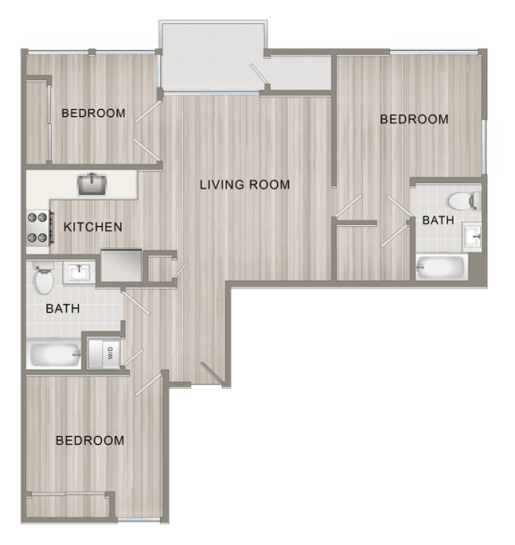Floor Plan  Unfurnished Three Bedroom I