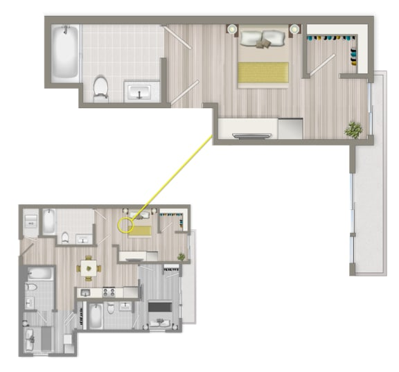 Floor Plan  Furnished Co-Living Master Suite 884A