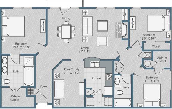 3 Bedroom and 2 Bath Floor Plan at Sterling Magnolia Apartments, Charlotte, North Carolina