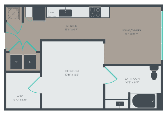 A1-A Floor Plan at Link Apartments® Linden, Chapel Hill, 27517