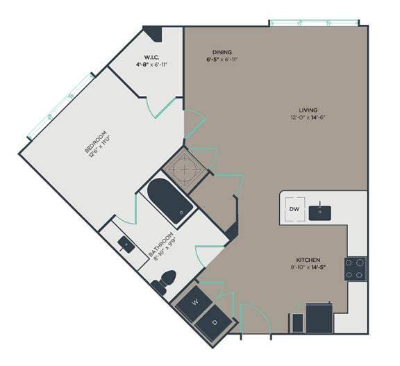 A4 1 Bed 1 Bath Floor Plan at Link Apartments® Montford, Charlotte, NC