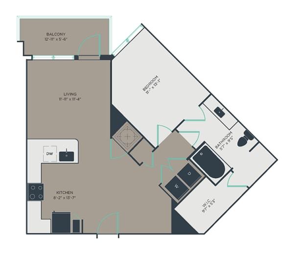 A5 1 Bed 1 Bath Floor Plan at Link Apartments® Montford, Charlotte, North Carolina