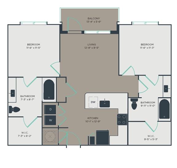 B2_A 2 Bed 2 Bath Floor Plan at Link Apartments® Montford, Charlotte, NC, 28209