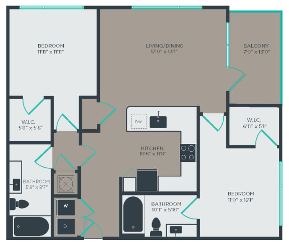 B2 Floor Plan at Link Apartments® Linden, Chapel Hill, NC