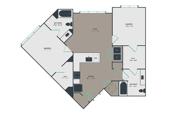 B3 2 Bed 2 Bath Floor Plan at Link Apartments® Montford, Charlotte, North Carolina