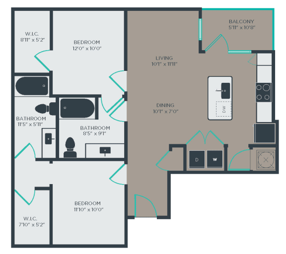 B3 Floor Plan at Link Apartments® Linden, Chapel Hill, 27517