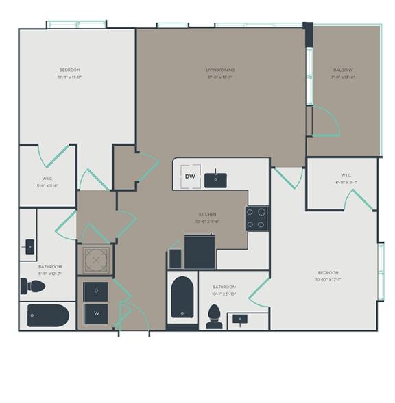B4 2 Bed 2 Bath Floor Plan at Link Apartments® Montford, Charlotte, NC