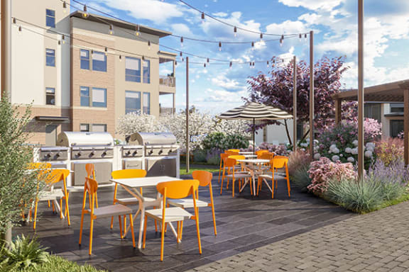 Outdoor Grill With Intimate Seating Area at Link Apartments® Linden, Chapel Hill