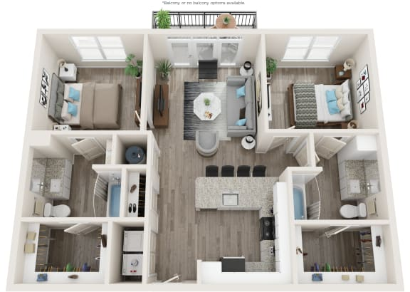 B1 Floor Plan at Link Apartments® Linden, Chapel Hill, NC, 27517