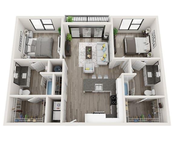 B1 Floor Plan at Link Apartments® Montford, Charlotte, NC, 28209
