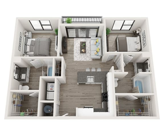 B2_A Floor Plan at Link Apartments® Montford, Charlotte, 28209