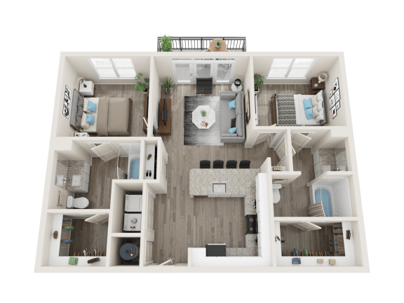 B1 A Floor Plan at Link Apartments® Linden, Chapel Hill, NC