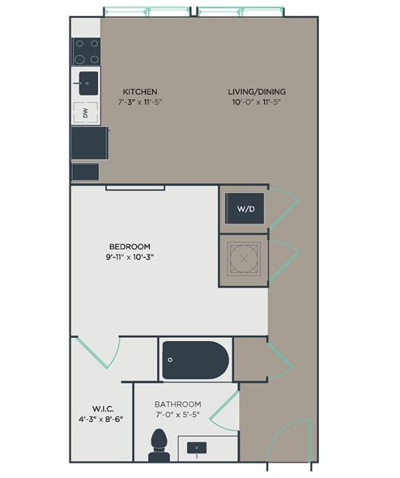 S1 1 Bed 1 Bath Floor Plan at Link Apartments® Montford, Charlotte, North Carolina