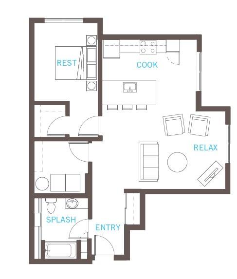 Floor Plan  1 bed,  1 bath, A29 floor plan at Vue 22 Apartments in Bellevue. WA