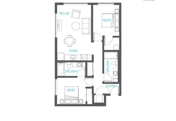 Floor Plan  2 Bedroom 2 Bathroom Floor Plan at Vue 22 Apartments, Bellevue