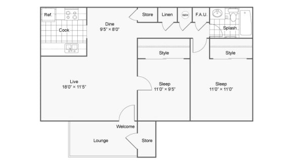 Two Bedroom B2 Floor Plan at The District