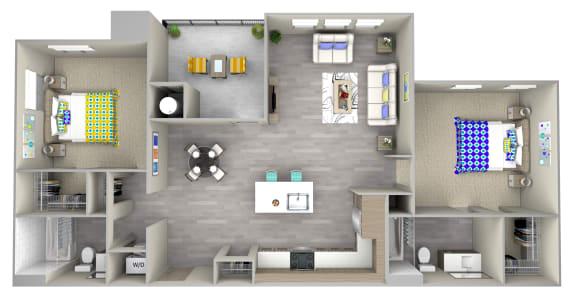 pebble b2.1 Floor Plan at Las Positas Apartments, California, 93010