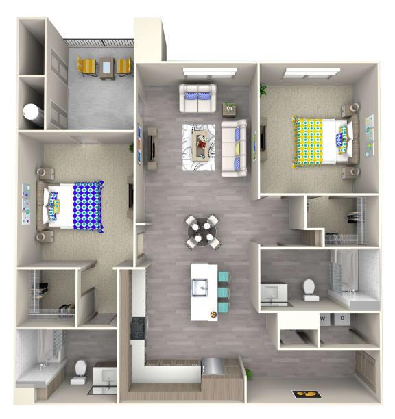 wave b3 Floor Plan at Las Positas Apartments, Camarillo, CA, 93010