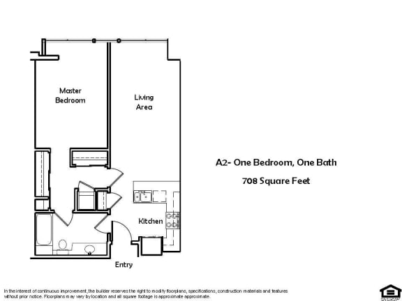 A2 D 1 Bed 1 Bath Floorplan at Pacific Place, Daly City 94014