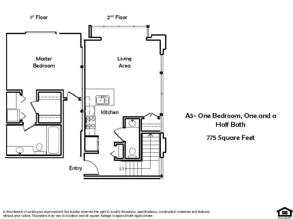 Floor Plan  A3-One Bedroom One And Half bathroom Floor Plan at Pacific Place, California, 94014