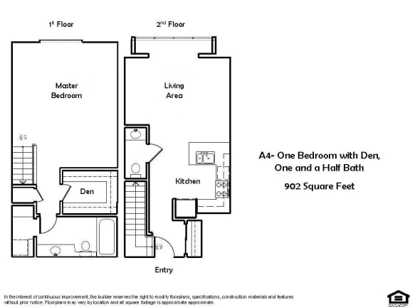 Floor Plan  A4 C 1 Bed 1.5 Bath Floorplan at Pacific Place, Daly City, CA, 94014