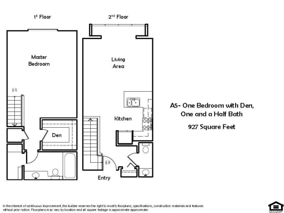 Floor Plan  A5 E 1 Bed 1.5 Bath Floorplan at Pacific Place, Daly City, CA, 94014