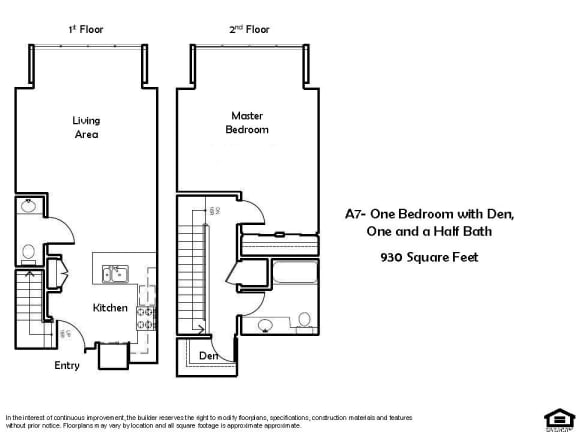 Floor Plan  A7 1 Bed 1.5 Bath Floorplan at Pacific Place, Daly City, CA, 94014