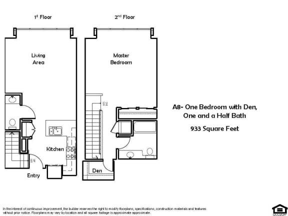 Floor Plan  A8 1 Bed 1.5 Bath Floorplan at Pacific Place, Daly City, CA, 94014