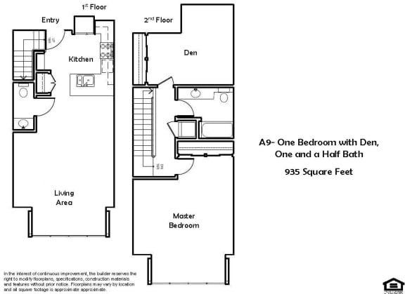 Floor Plan  A9 1 Bed 1.5 Bath Floorplan at Pacific Place, Daly City, CA, 94014
