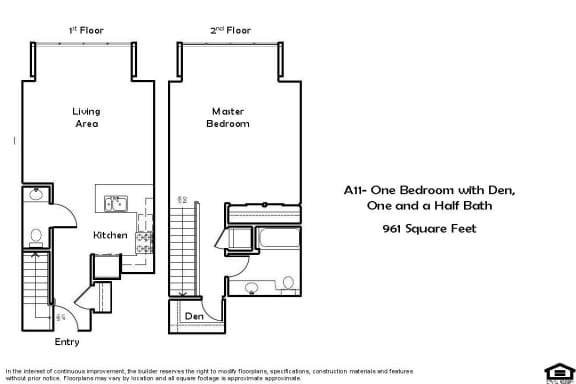 Floor Plan  A11 1 Bed 1.5 Bath Floorplan at Pacific Place, Daly City, CA, 94014