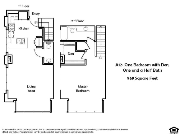 Floor Plan  A12 1 Bed 1.5 Bath Floorplan at Pacific Place, Daly City, CA, 94014