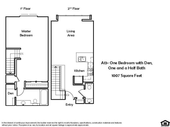 Floor Plan  A13 1 Bed 1.5 Bath Floorplan at Pacific Place, Daly City, CA, 94014