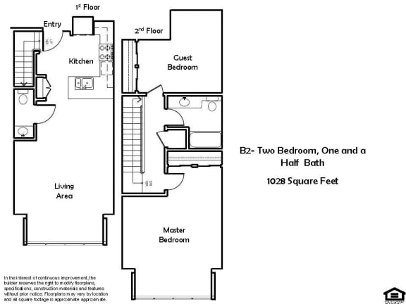 Floor Plan  B2 F 2 Bed 1 Bath Floorplan at Pacific Place, Daly City, CA, 94014