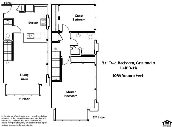Floor Plan  B3 2 Bed 1.5 Bath Floorplan at Pacific Place, 94014