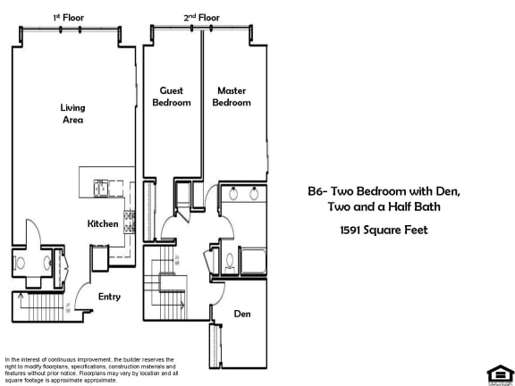 Floor Plan  B6 2 Bed 1.5 Bath Floorplan at Pacific Place, Daly City, CA, 94014