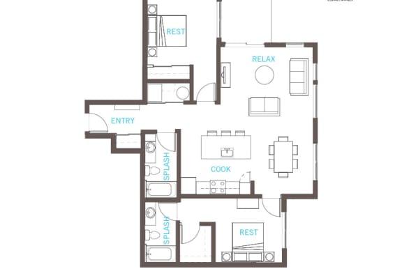 Floor Plan  2 Bed 2 Bath Floor Plan at Vue 22 Apartments, Bellevue, WA, 98007