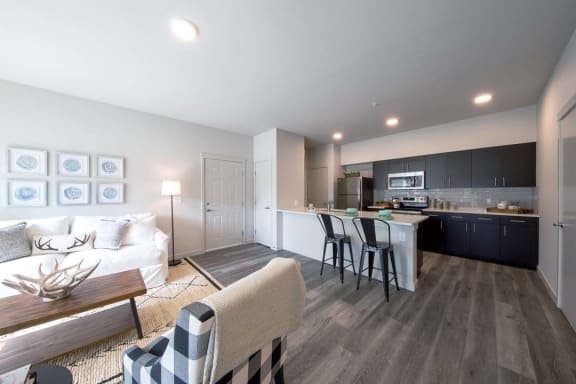 Living Room Come Kitchen View at Hearth Apartment Homes, Washington