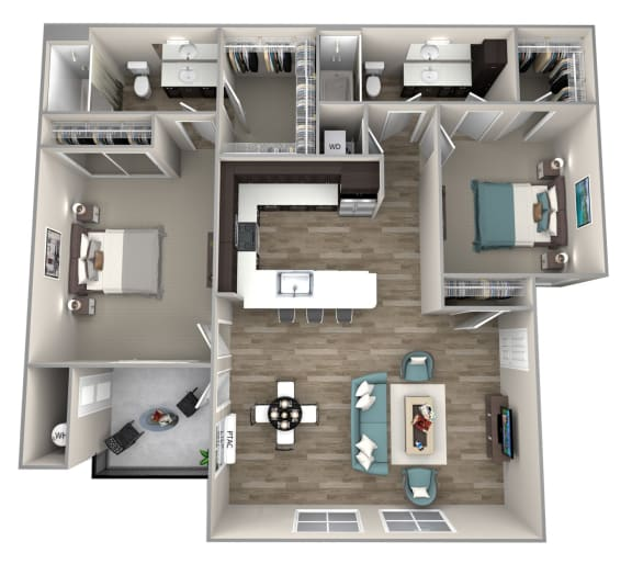 2 bedroom 2 bath Baldwin Floor Plan at Hearth Apartment Homes, Vancouver, Washington