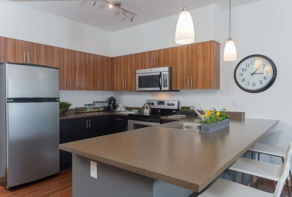 Refrigerator And Kitchen Appliances at Tivalli Apartments, Washington, 98087