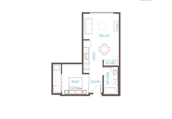 1 Bed 1 Bath Floor Plan at Vue 22 Apartments, Washington, 98007