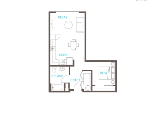 One Bed One Bath Floor Plan at Vue 22 Apartments, Bellevue, WA