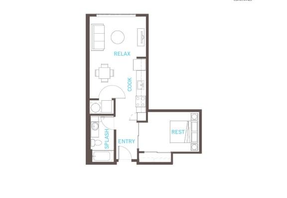 Floor Plan  1 Bed 1 Bath Floor Plan at Vue 22 Apartments, Bellevue